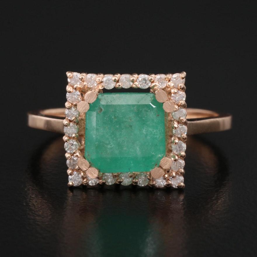14K 2.07 CT Emerald and Diamond Ring