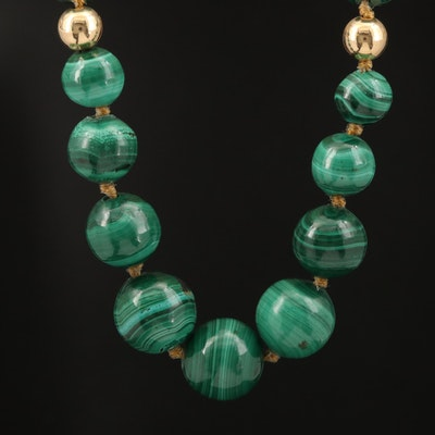 14K Graduated Malachite Beaded Necklace