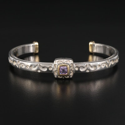 Sterling Silver Amethyst Cuff with 18K Accents
