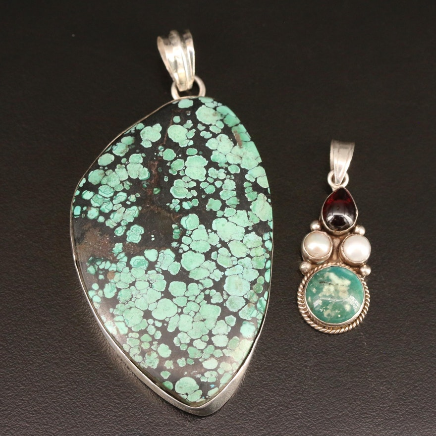 800 Silver Turquoise Pendant and Sterling Gemstone Pendant