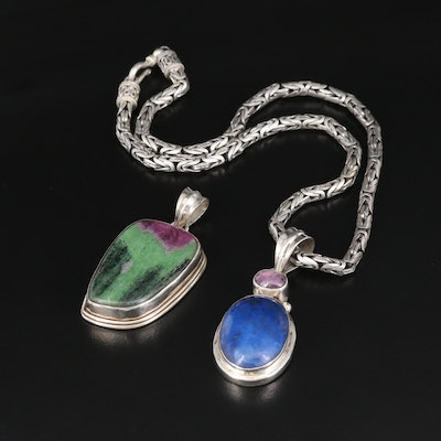 Sterling Silver Ruby in Zoisite, Lapis Lazuli, and Corundum Necklace and Pendant