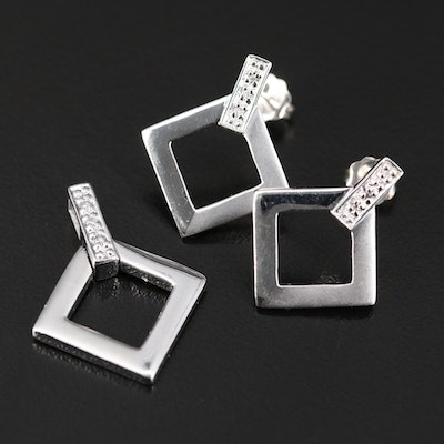 Krementz Sterling Silver Diamond Pendant and Earring Set