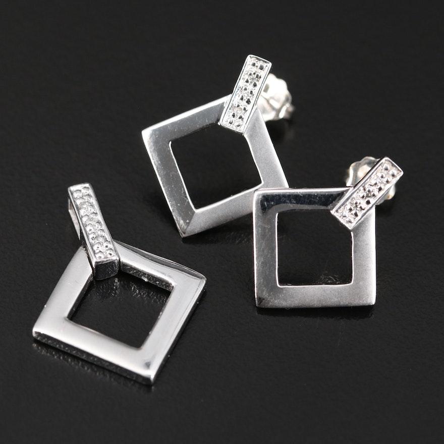 Krementz Sterling Silver Diamond Pendant and Earring Set