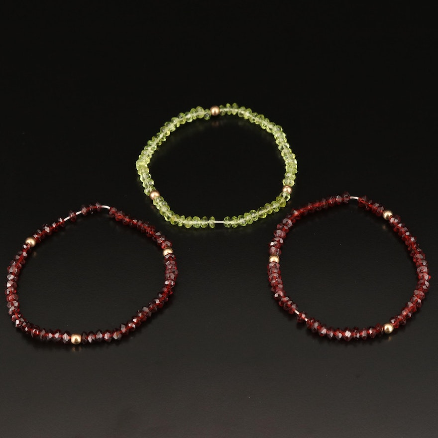 Beaded Garnet and Peridot Expandable Bracelets with 10K Accents