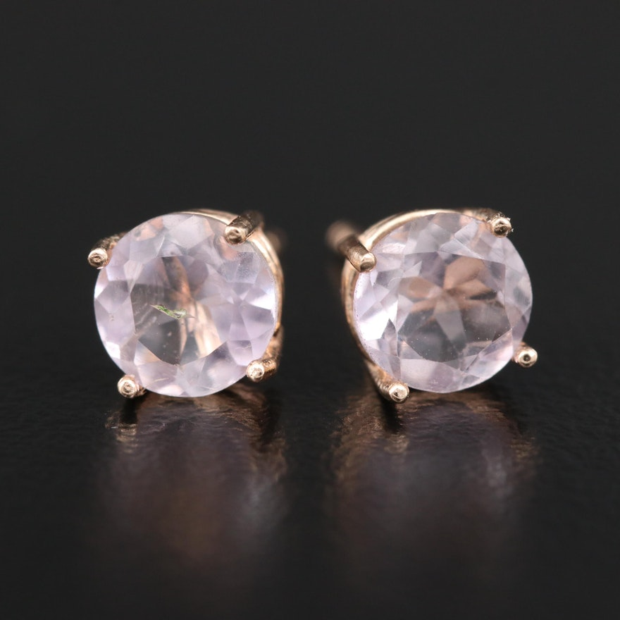 14K Rose Quartz Stud Earrings