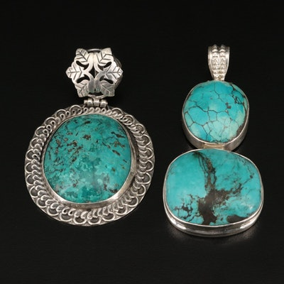 Sterling and 800 Silver Turquoise Pendants