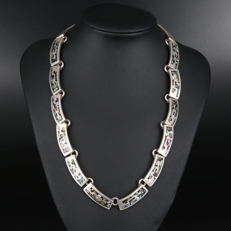 Vintage Sterling Silver Abalone Inlay Link Necklace