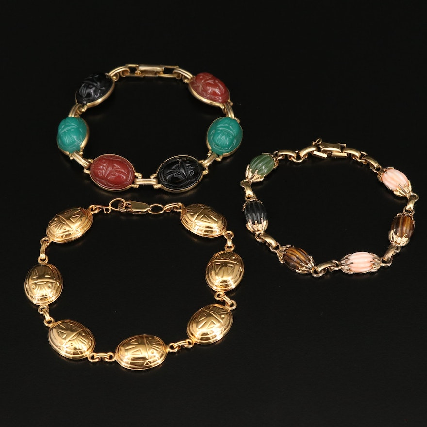 Scarab Bracelets and Wells Multi-Gemstone Bracelet Including Sterling