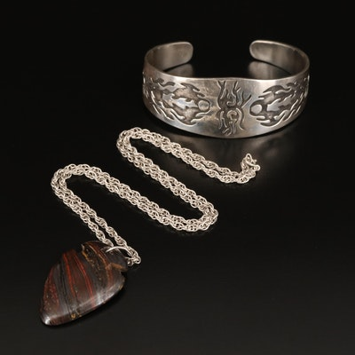 Southwestern Style Sterling Cuff and Tiger Iron Necklace