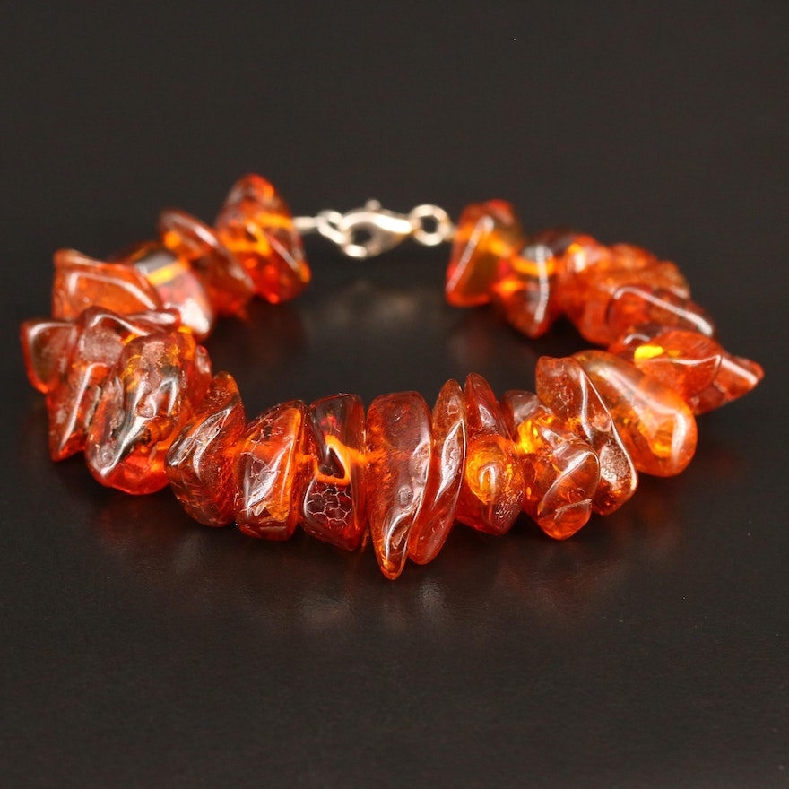 Amber Bracelet with Sterling Silver Clasp
