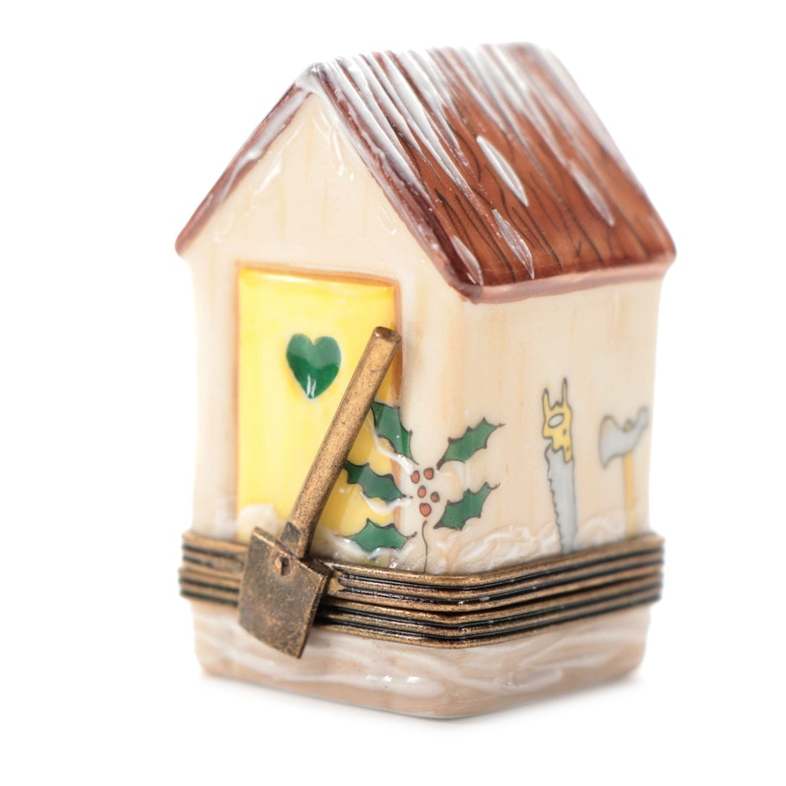 Hand-Painted Snowy Shed Porcelain Limoges Box
