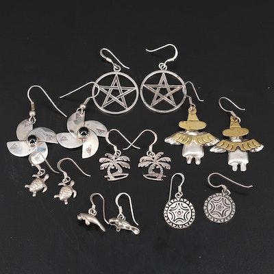Sterling Silver Earrings Featuring Black Onyx Pinwheel Earrings