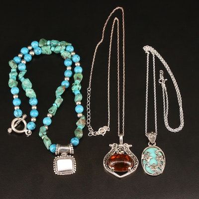 Mexican Sterling Silver Turquoise and Amber Necklaces