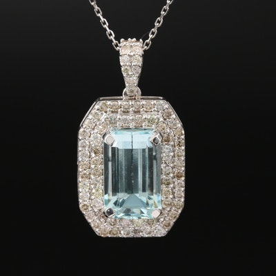18K 6.49 CTW Aquamarine and 1.45 CTW Diamond Pendant on 14K Necklace