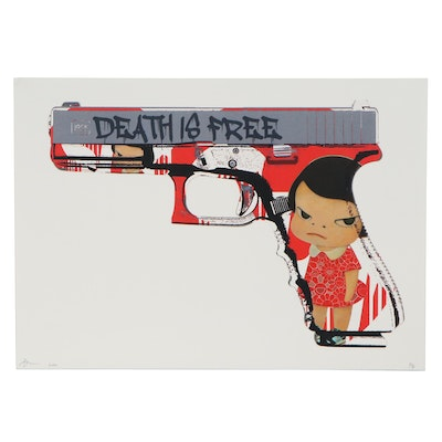 Death NYC Pop Art Giclée of Gun with Character, 2020