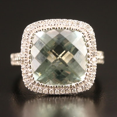 10K Prasiolite and Diamond Halo Ring
