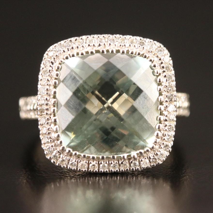 10K Prasiolite and Diamond Halo Ring