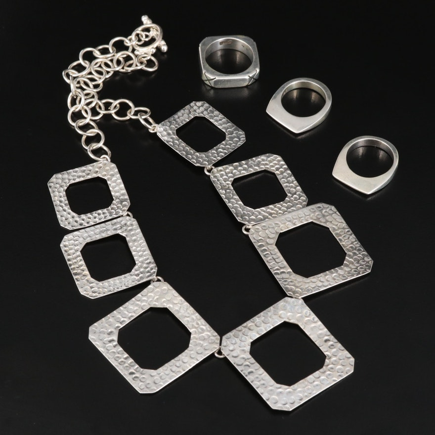 Sterling Silver Geometric Cutout Necklace and Bands
