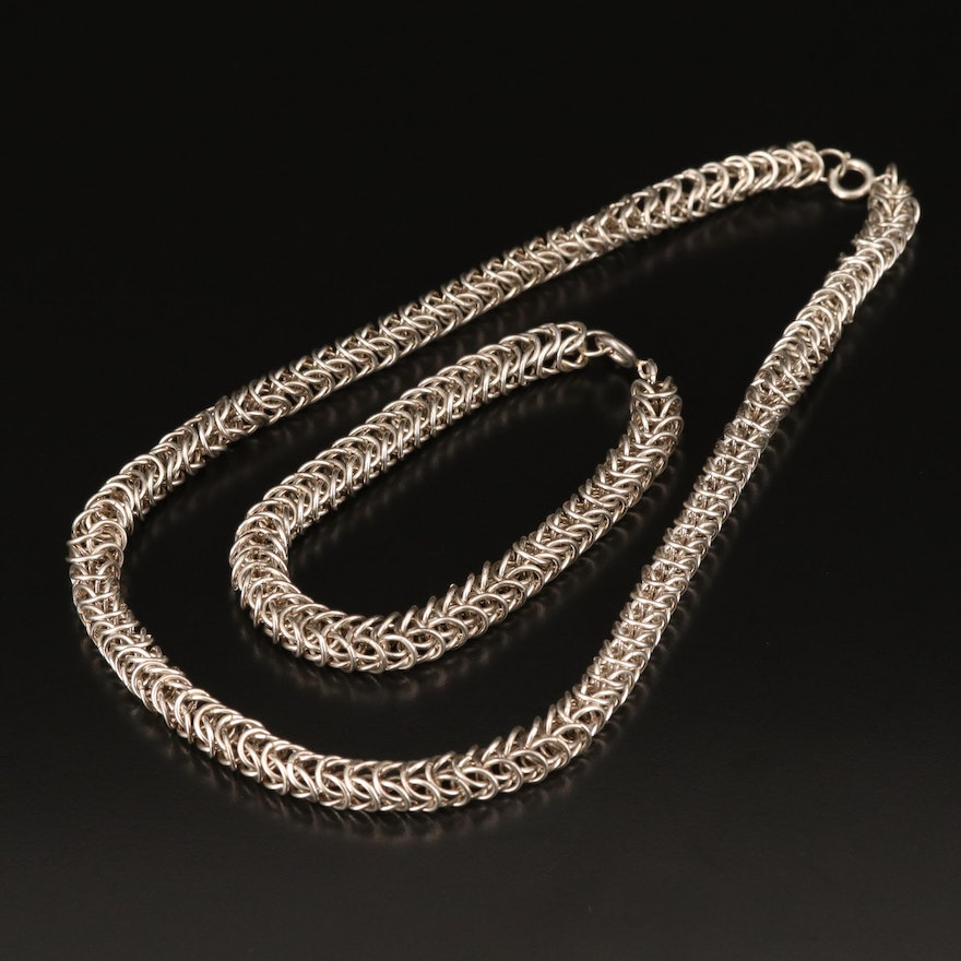 Sterling Round Open Link Necklace and Bracelet