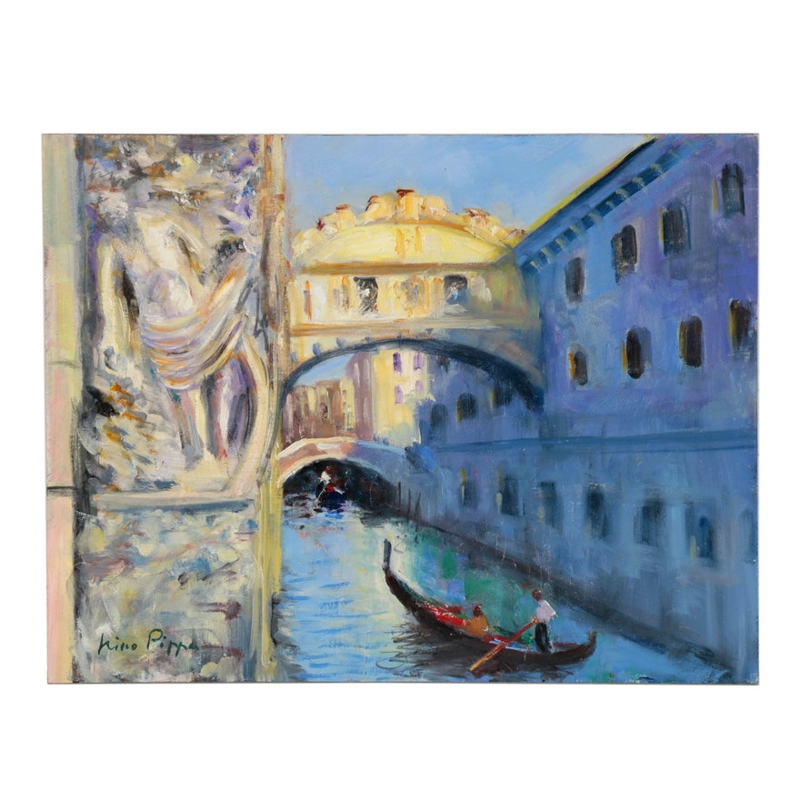 "Nino Pippa Oil Painting ""Venice - Bridge of Sighs,"" 2014"