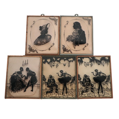 Victorian Style Silhouette Scenes and Portraits