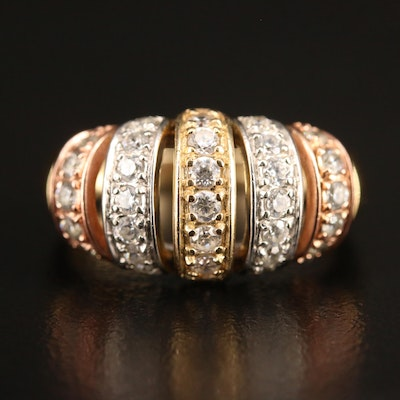 10K Cubic Zirconia Openwork Tapered Band