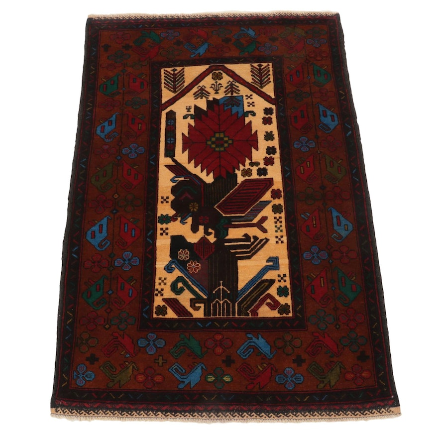 3'2 x 4'11 Hand-Knotted Afghan Baluch Area Rug