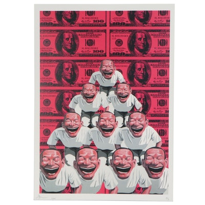 Death NYC Giclée of Pyramid of Figures and Money, 2020