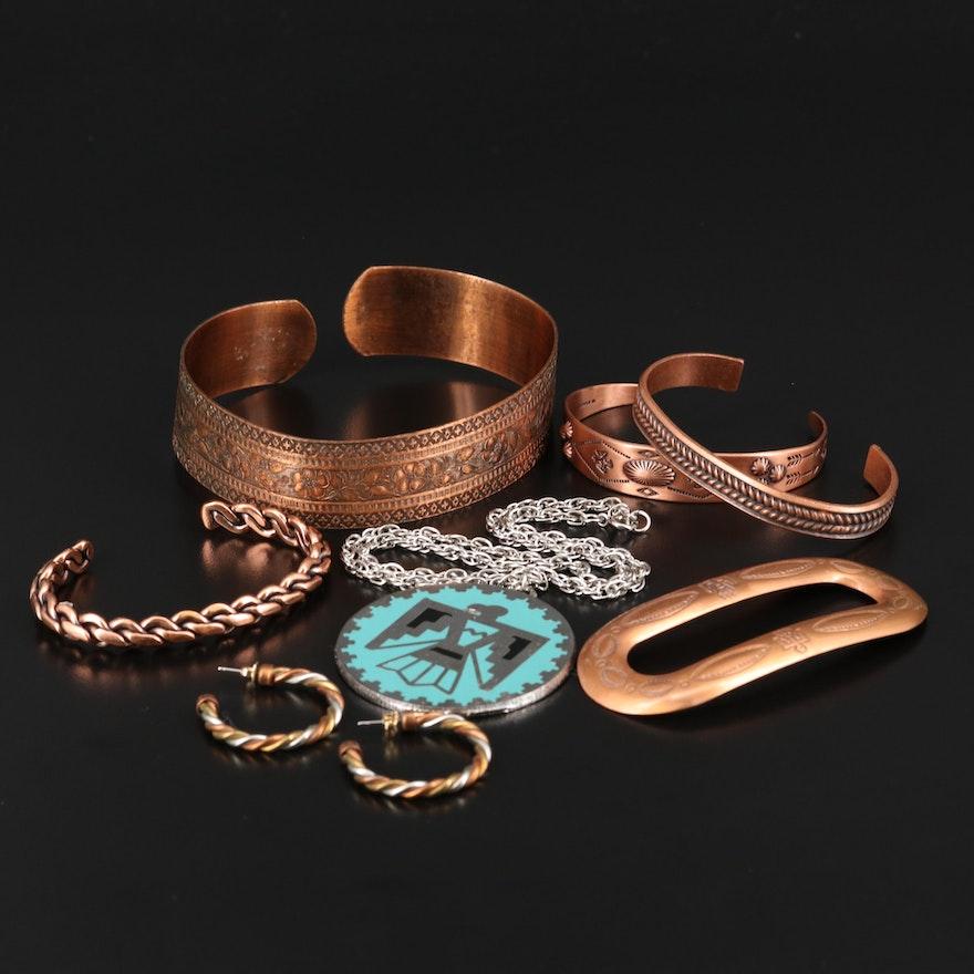 Copper Jewelry Assortment Featuring Enamel Thunderbird Necklace