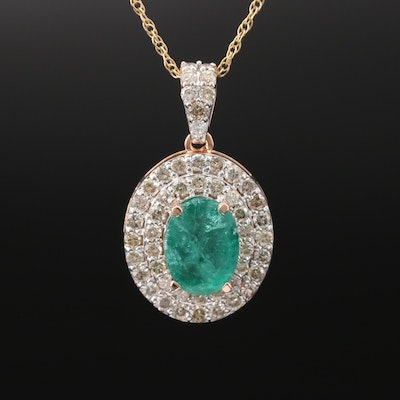 14K 2.08 CT Emerald and Diamond Double Halo Necklace