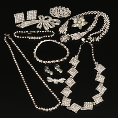 Rhinestone Necklaces, Earrings and Brooches