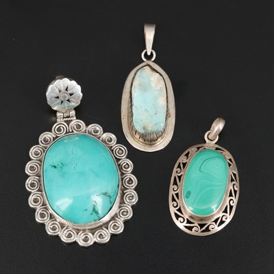 Sterling and 800 Silver Hemimorphite, Turquoise and Malachite Pendants