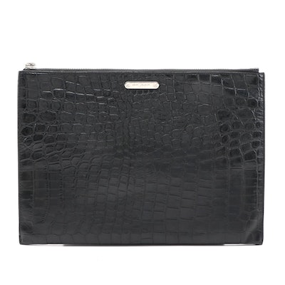 Yves Saint Laurent Black Croc Embossed Leather Zipper Pouch