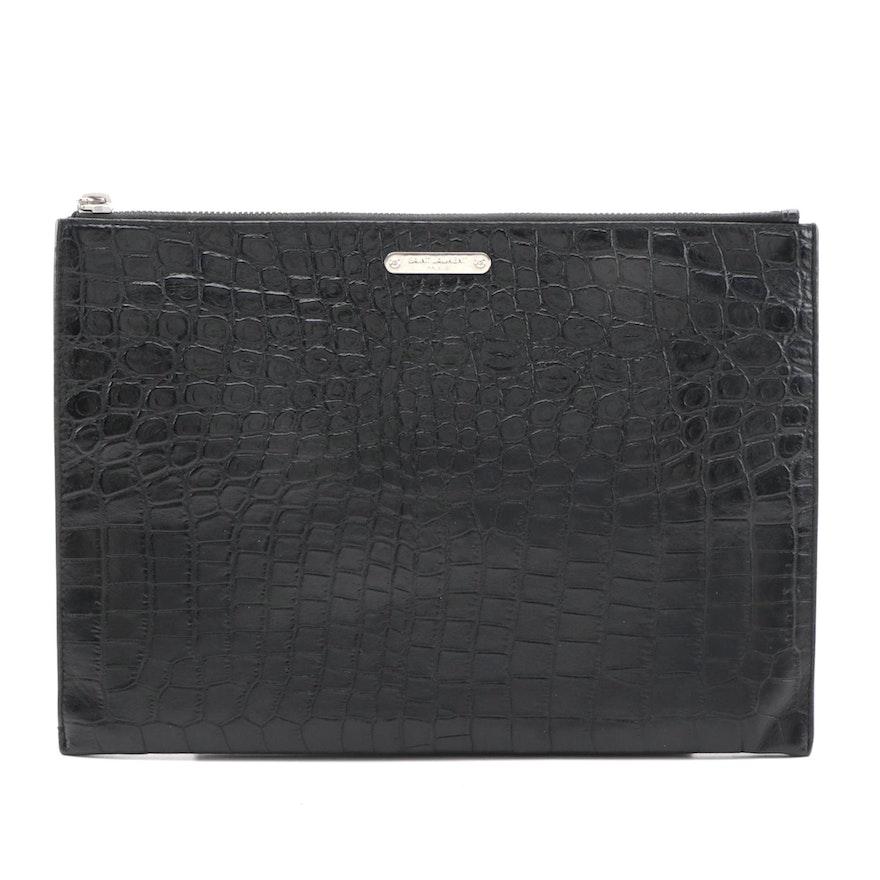 Yves Saint Laurent Black Croc Embossed Leather Zipper Pouch