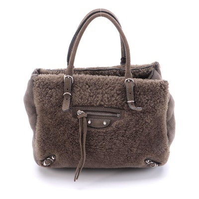 Balenciaga Mini Papier A4 Two-Way in Taupe Shearling and Suede