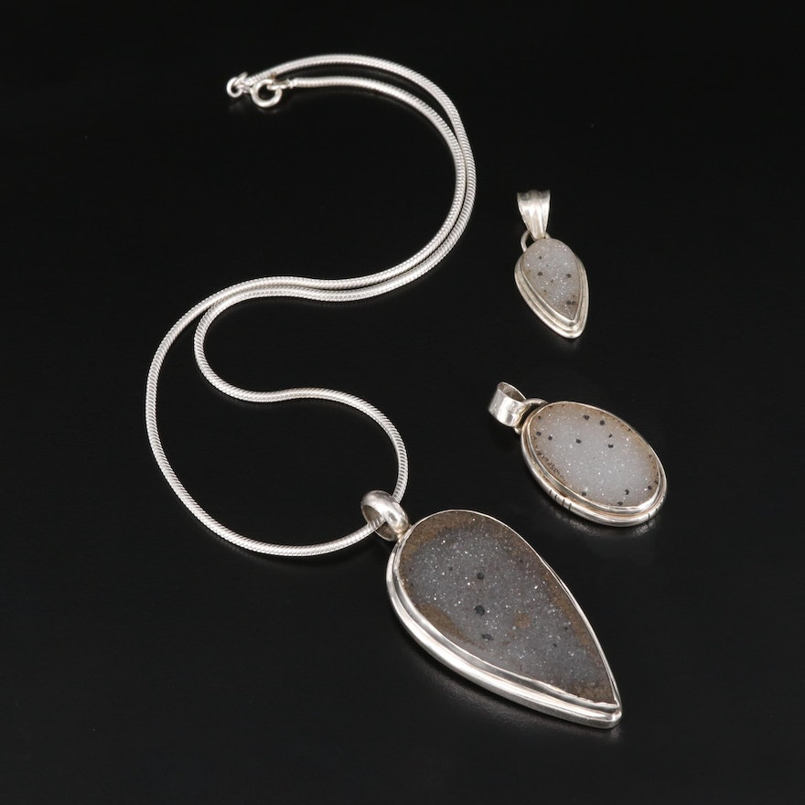 Sterling Silver Druzy Pendants with Snake Chain
