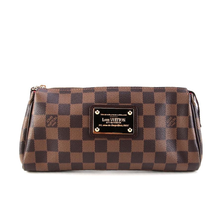 Louis Vuitton Eva Convertible Clutch Bag in Damier Ebene Canvas with Box
