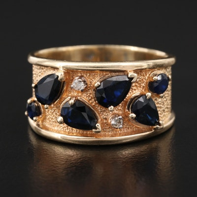14K Sapphire and Diamond Tapered Band