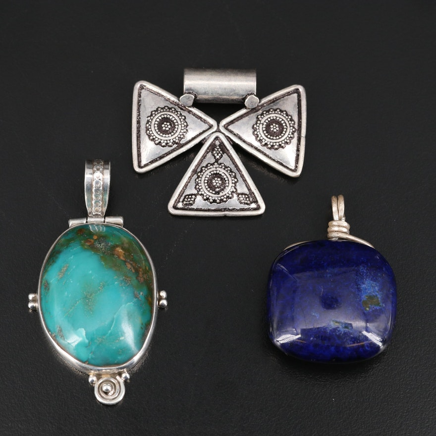 Sterling and 800 Silver Pendants Featuring Turquoise and Faux Azurite