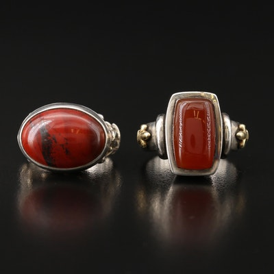 Sterling Carnelian and Jasper Rings Featuring Claudia Agudelo and 18K Accents