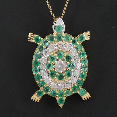 14K 1.80 CTW Diamond and Emerald Turtle Pendant Necklace