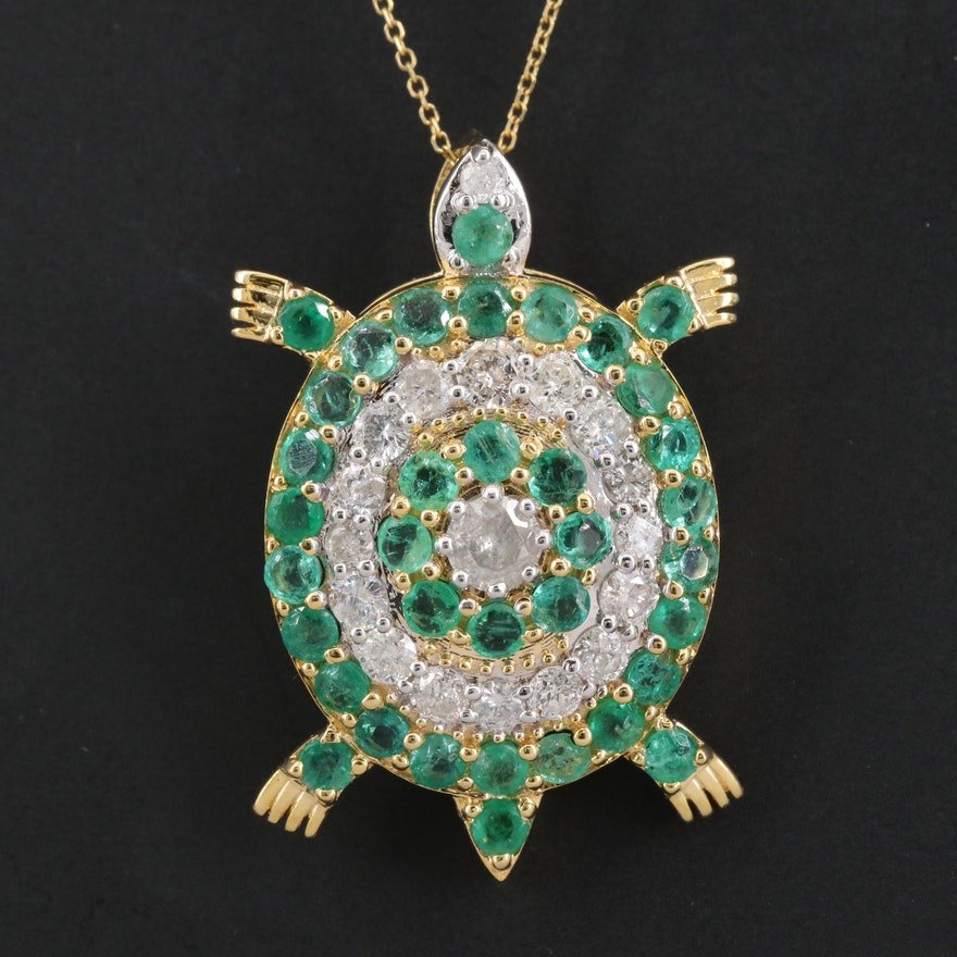 14K 1.80 CTW Diamond and Emerald Turtle Pendant Necklace