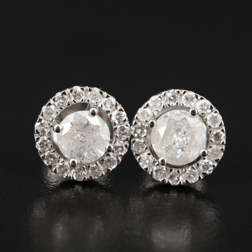 Platinum 2.84 CTW Diamond Halo Earrings