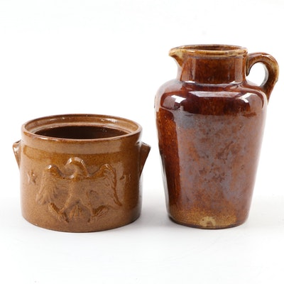 Brownware Ceramic Pitcher and Eagle Crock, 20th Century