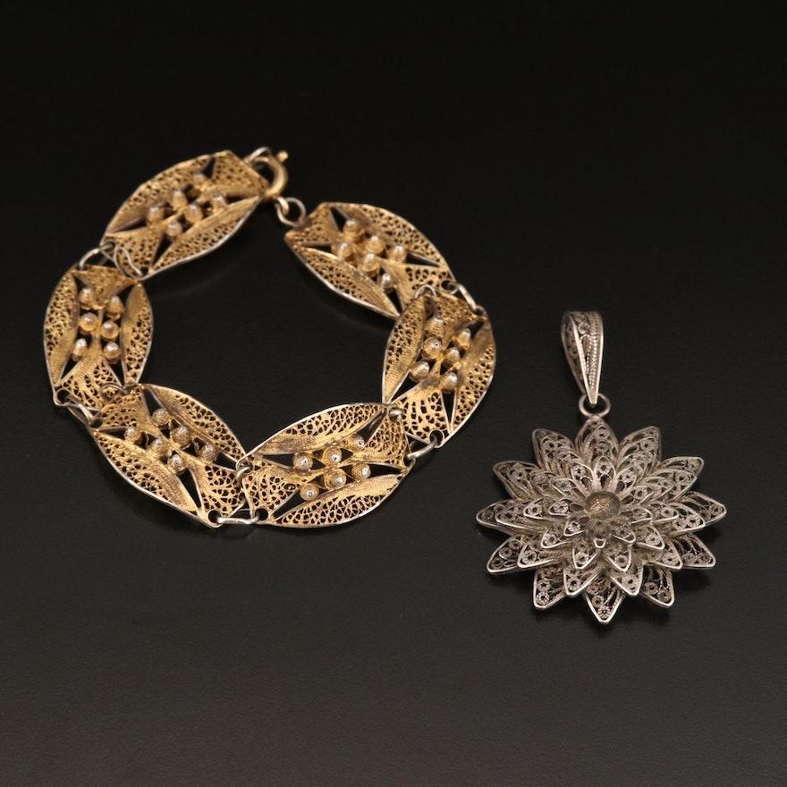 Sterling Filigree Pendant and Topazio of Portugal Sterling Bracelet