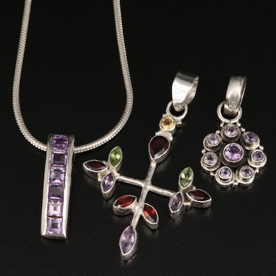 Multi-Gemstone Sterling Pendants with Snake Chain Necklace