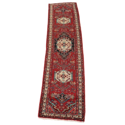3'5 x 13'6 Hand-Knotted Persian Hamadan Long Rug, Mid-Late 20th Century