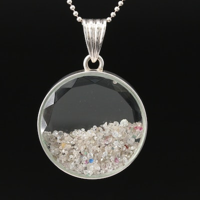 Sterling Silver Diamond and Gemstone and More Floating Pendant Necklace