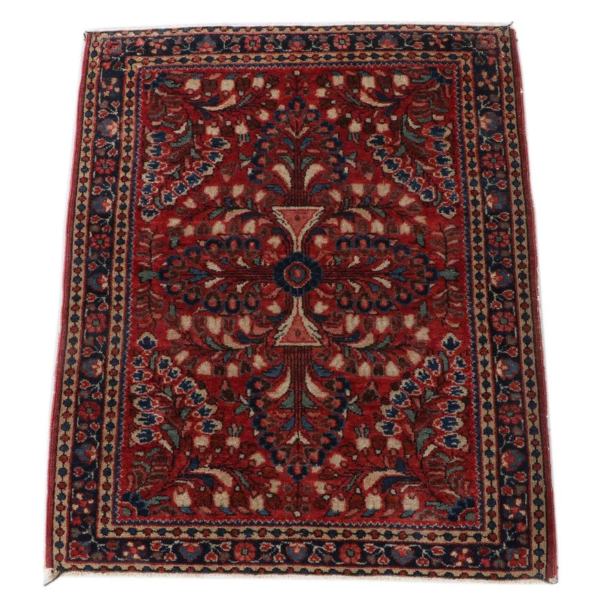 1'10 x 2'4 Hand-Knotted Persian Sarouk Wool Accent Rug
