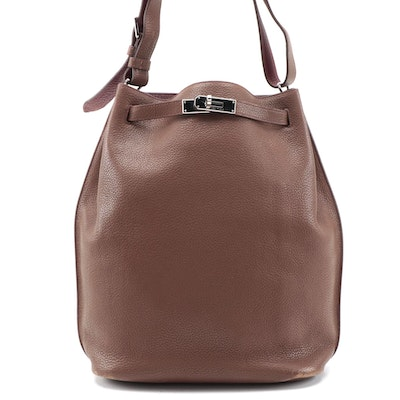 Hermès Eclat So Kelly 26 Shoulder Bag in Marron D'inde Clemence Leather